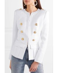 Balmain White Button-embellished Woven Blazer