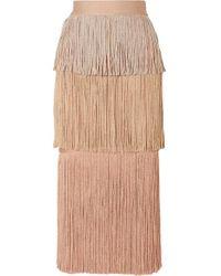 Hervé Léger Multicolor Tiered Fringe Midi Skirt