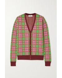 Molly Goddard Pink Emma Checked Intarsia Cotton Cardigan