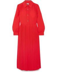 Paul & Joe Red Barbara Pleated Crepe Midi Dress