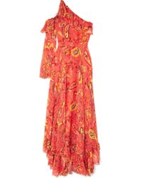 Etro Red One-shoulder Ruffle-trimmed Printed Chiffon Maxi Dress
