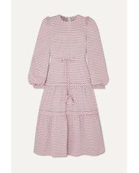 Anna Mason Purple Christy Gestreiftes Kleid Aus Gaze Mit Webpunkten