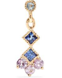 Jennie Kwon Metallic Momentum 14-karat Gold, Aquamarine And Sapphire Earring