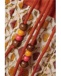 Talitha Orange Jasmin Lace-up Printed Chiffon Dress