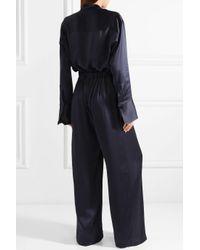 Michael Lo Sordo Blue Silk-satin Jumpsuit