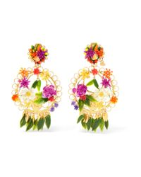 Mercedes Salazar - Pink Fiesta Gold-plated Resin Clip Earrings - Lyst