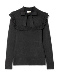 Joos Tricot Black Ruffled Pussy-bow Lurex Sweater