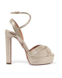 Aquazzura 130 Plateausandalen Aus Veganem Leder In Metallic-optik