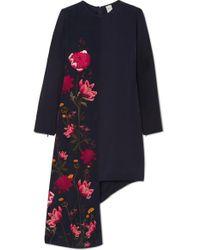 Mini-robe Asymétrique En Soie Biologique À Imprimé Fleuri Thea X Bbc Earth Mother Of Pearl en coloris Blue