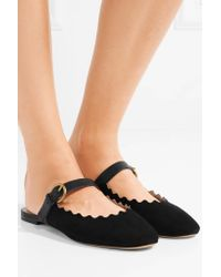 Chloé Black Lauren Leather-trimmed Suede Slippers