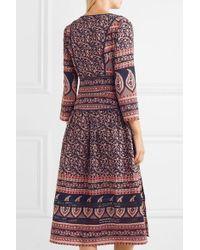 Sea Blue Aurora Printed Cotton Midi Dress