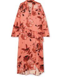 Robe Midi En Satin À Imprimé Fleuri Et À Volant Mother Of Pearl en coloris Pink