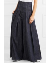 Brunello Cucinelli Blue Pleated High-rise Wide-leg Jeans