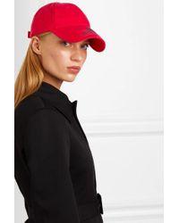 Balenciaga Red Baseballkappe Aus Baumwoll-twill Mit Stickerei