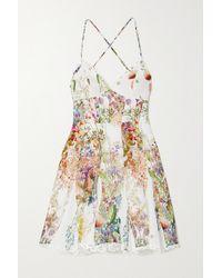 Charo Ruiz White Marlene Minikleid Aus Baumwolle Mit Blumenprint Und Häkelbesätzen
