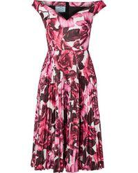 Prada Pink Schulterfreies Kleid Aus Baumwollpopeline Mit Blumenprint Und Plissee