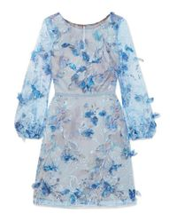 Marchesa notte Blue Embroidered Cocktail With 3d Flowers
