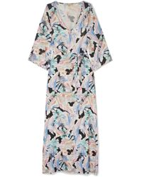 Melissa Odabash - Blue Becky Belted Printed Voile Maxi Dress - Lyst
