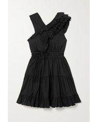Ulla Johnson Black Iliana Tiered Ruffled Cotton-poplin Mini Dress