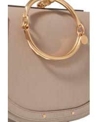 Chloé   Gray Nile Bracelet Medium Textured-leather And Suede Shoulder Bag   Lyst