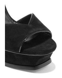 Saint Laurent Black Tribute Lips Sandals