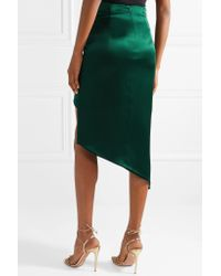 Cushnie Green Asymmetric Silk-satin Midi Skirt