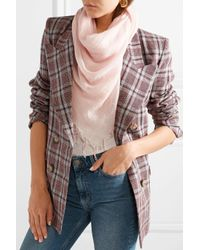 Chan Luu Pink Fringed Cashmere And Silk-blend Scarf
