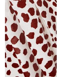 Rixo Red Claire Pleated Leopard-print Cotton-blend Midi Skirt