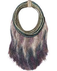 Rosantica Purple Havana Tasseled Beaded Necklace