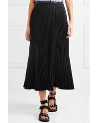 Prada Black Pleated Twill Midi Skirt