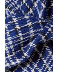 CALVIN KLEIN 205W39NYC Blue Asymmetric Prince Of Wales Checked Cady Maxi Dress