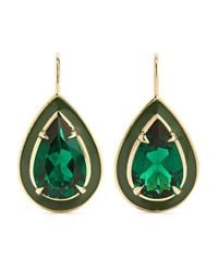 Alison Lou Metallic 14-karat Gold And Enamel Emerald Earrings
