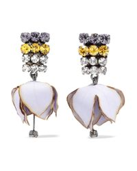 Marni - Gray Gunmetal-tone, Poplin And Crystal Clip Earrings - Lyst