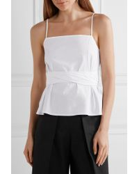 Elizabeth and James White Montgomery Wrap-effect Stretch-cotton Top