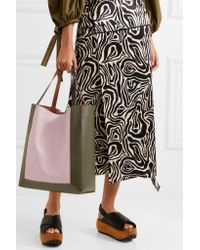 Marni Pink Frame Color-block Leather Tote