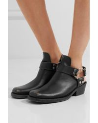 Balenciaga Black Santiago Distressed Textured-leather Ankle Boots
