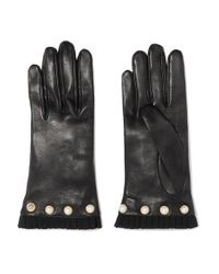 Gucci Black Faux Pearl-embellished Grosgrain-trimmed Leather Gloves