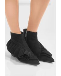 J.W. Anderson | Black Ruffled Suede Ankle Boots | Lyst