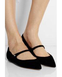 Tabitha Simmons Black Hermione Velvet Point-toe Flats