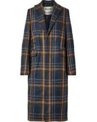 Acne Blue Karierter Mantel Aus Einer Wollmischung