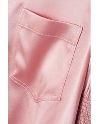 Gucci Pink Bluse Aus Satin Aus Einer Seidenmischung Mit Smokarbeit