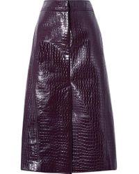 Tibi Purple Midirock Aus Lacklederimitat Mit Krokodileffekt