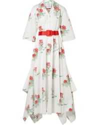 Rosie Assoulin - White Waiting For Godet Belted Coated Cotton-blend Poplin Maxi Dress - Lyst
