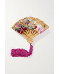 Judith Leiber Pink Floral Fan Goldfarbene Clutch Mit Kristallen