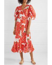 Robe Midi Portefeuille En Voile De Coton À Imprimé Fleuri Fiona RHODE en coloris Red