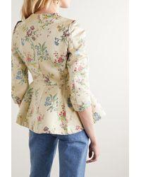 Brock Collection Green Jacke Aus Brokat Aus Einer Baumwoll-seidenmischung Mit Blumenmuster