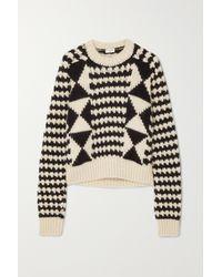 Saint Laurent Black Pullover Aus Einer Wollmischung Mit Zopfstrickmuster