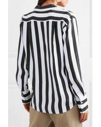 FRAME Black Gestreiftes Hemd Aus Vorgewaschener Seide