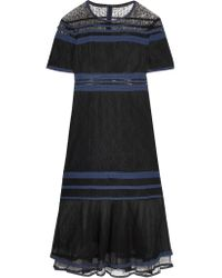 Jonathan Simkhai | Black Tulle-trimmed Lace Midi Dress | Lyst