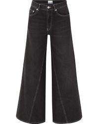 Ganni Black High-rise Wide-leg Jeans